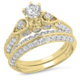 1.50 Carat (ctw) 10K Yellow Gold Round Diamond Ladies 3 Stone Bridal Engagement Ring Set 1 1/2 CT