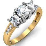 1.00 Carat (ctw) 14k Yellow Gold Round Diamond Ladies 3 Stone Engagement Bridal Ring 1 CT
