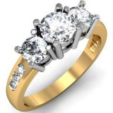 1.50 Carat (ctw) 14k Yellow Gold Round Diamond Ladies 3 Stone Engagement Bridal Ring 1 1/2 CT