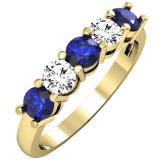 1.00 Carat (ctw) 14K Yellow Gold Round Blue Sapphire and White Diamond Ladies 5 Stone Bridal Wedding Band Anniversary Ring 1 CT