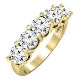 2.00 Carat (ctw) 18K Yellow Gold Round White Diamond Ladies 5 Stone Bridal Wedding Band Anniversary Ring 2 CT