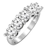 2.00 Carat (ctw) 14K White Gold Round White Diamond Ladies 5 Stone Bridal Wedding Band Anniversary Ring 2 CT