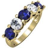 2.00 Carat (ctw) 14K Yellow Gold Round Blue Sapphire and White Diamond Ladies 5 Stone Bridal Wedding Band Anniversary Ring 2 CT