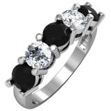 2.00 Carat (ctw) 14K White Gold Round Black and White Diamond Ladies 5 Stone Bridal Wedding Band Anniversary Ring 2 CT
