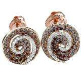 1.75 Carat (ctw) 14K Rose Gold Round Champagne and White Diamond Ladies Fine Stud Earrings 1 3/4 CT