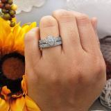 0.80 Carat (ctw) Sterling Silver Round Diamond Ladies Bridal Marquise Shape Promise Engagement Ring Set With Matching Band 3/4 CT