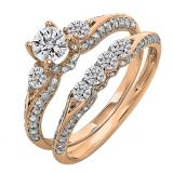 1.30 Carat (ctw) 14k Rose Gold Round Diamond Ladies 3 Stone Bridal Engagement Ring Set With Matching Band