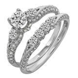 1.30 Carat (ctw) 14k White Gold Round Diamond Ladies 3 Stone Bridal Engagement Ring Set With Matching Band