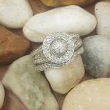 0.50 Carat (ctw) 14K White Gold Round White Diamond Ladies Split Shank Bridal Engagement Ring Set Matching Wedding Band 1/2 CT