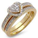 0.23 Carat (ctw) 18K Yellow Gold Plated Sterling Silver Round White Diamond Ladies Heart Shaped Bridal Engagement Ring With Matching Band Set 1/4 CT
