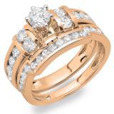 1.80 Carat (ctw) 18K Rose Gold Round Diamond Ladies Bridal Engagement Ring Matching Wedding Band Set