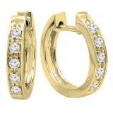 0.15 Carat (ctw) 10K Yellow Gold Round White Diamond Ladies Huggie Hoop Earrings