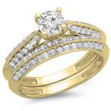 1.00 Carat (ctw) 10K Yellow Gold Round Diamond Ladies Bridal Engagement Ring With Matching Band Set 1 CT
