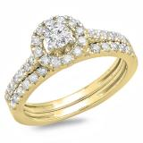 0.85 Carat (ctw) 14K Yellow Gold Round Cut Diamond Ladies Bridal Halo Style Engagement Ring With Matching Band Set