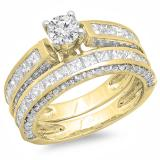 3.00 Carat (ctw) 10K Yellow Gold Princess & Round Diamond Ladies Bridal Engagement Ring Set With Matching Band 3 CT
