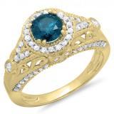 1.33 Carat (ctw) 10K Yellow Gold Round Blue & White Diamond Ladies Split Shank Vintage Bridal Halo Style Engagement Ring 1 1/3 CT