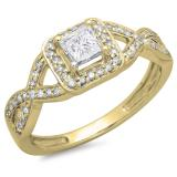 0.80 Carat (ctw) 14K Yellow Gold Princess & Round Diamond Ladies Swirl Bridal Halo Style Engagement Ring 3/4 CT