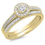 0.50 Carat (ctw) 14K Yellow Gold Round Diamond Ladies Halo Style Bridal Engagement Ring With Matching Band Set 1/2 CT