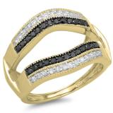 0.55 Carat (ctw) 14K Yellow Gold Round Black & White Diamond Ladies Double Row Anniversary Wedding Band Millgrain Guard Double Ring 1/2 CT