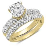 2.00 Carat (Ctw) 14K Yellow Gold Round Cut Diamond Ladies Bridal Engagement Ring With Matching Band Set 2 CT