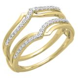 0.25 Carat (ctw) 14K Yellow Gold Round Diamond Ladies Anniversary Wedding Band Enhancer Guard Double Ring 1/4 CT