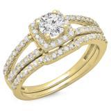 1.00 Carat (ctw) 14K Yellow Gold Round Diamond Ladies Split Shank Halo Bridal Engagement Ring With Matching Band Set 1 CT