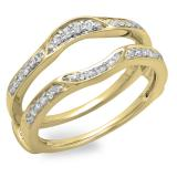 0.25 Carat (ctw) 14K Yellow Gold Round Diamond Ladies Anniversary Wedding Band Enhancer Double Guard Ring 1/4 CT