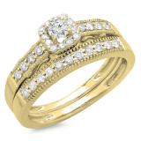 0.50 Carat (ctw) 10K Yellow Gold Round Diamond Ladies Halo Engagement Bridal Ring With Matching Band Set 1/2 CT
