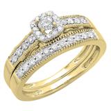 0.50 Carat (ctw) 14K Yellow Gold Round Diamond Ladies Halo Engagement Bridal Ring With Matching Band Set 1/2 CT
