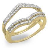 0.50 Carat (ctw) 18K Yellow Gold Round Diamond Ladies Anniversary Wedding Band Enhancer Guard Double Ring 1/2 CT