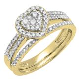 0.50 Carat (ctw) 10K Yellow Gold Round Cut Diamond Ladies Split Shank Heart Shaped Bridal Engagement Ring With Matching Band Set 1/2 CT