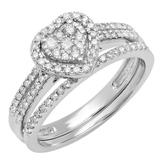 0.50 Carat (ctw) 14K White Gold Round Cut Diamond Ladies Split Shank Heart Shaped Bridal Engagement Ring With Matching Band Set 1/2 CT