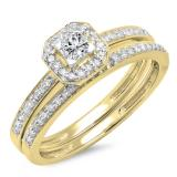 0.55 Carat (ctw) 10K Yellow Gold Princess & Round Cut Diamond Ladies Halo Engagement Bridal Ring With Matching Band Set 1/2 CT