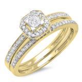 0.55 Carat (ctw) 14K Yellow Gold Princess & Round Cut Diamond Ladies Halo Engagement Bridal Ring With Matching Band Set 1/2 CT