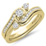 0.50 Carat (ctw) 10K Yellow Gold Round Diamond Ladies Bridal Twisted Swirl Engagement Ring With Matching Band Set 1/2 CT