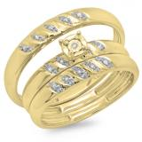 0.10 Carat (ctw) 10K Yellow Gold Round Cut Diamond Men & Women's Engagement Ring Trio Bridal Set 1/10 CT