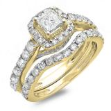 2.00 Carat (ctw) 10K Yellow Gold Princess & Round Diamond Ladies Halo Style Bridal Engagement Ring Matching Band Set 2 CT