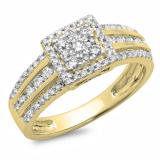 0.75 Carat (ctw) 14K Yellow Gold Round Cut Diamond Ladies Cluster Style Bridal Halo Engagement Ring 3/4 CT