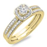 0.55 Carat (ctw) 14K Yellow Gold Round Cut Diamond Ladies Halo Engagement Bridal Ring With Matching Band Set 1/2 CT