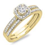 0.55 Carat (ctw) 14K Yellow Gold Round Cut Diamond Ladies Halo Engagement Bridal Ring With Matching Band Set 1/2 CT
