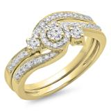 0.65 Carat (ctw) 10K Yellow Gold Round Diamond Ladies Twisted Swirl Bridal Halo Engagement Ring With Matching Band Set