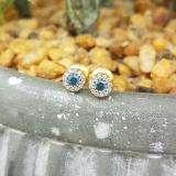 0.20 Carat (ctw) 10K Yellow Gold Round Blue & White Diamond Ladies Cluster Halo Style Stud Earrings 1/5 CT