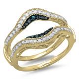 0.50 Carat (ctw) 10K Yellow Gold Round Blue & White Diamond Ladies Anniversary Wedding Band Enhancer Guard Double Ring 1/2 CT