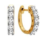 0.50 Carat (ctw) 14K Yellow Gold Real Round Cut White Diamond Ladies Huggies Hoop Earrings 1/2 CT