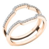 0.25 Carat (ctw) 10K Rose Gold Round Cut White Diamond Ladies Anniversary Wedding Band Enhancer Guard Double Ring 1/4 CT