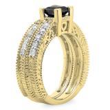 1.50 Carat (ctw) 10K Yellow Gold Princess Cut Black & Round White Diamond Ladies Bridal Vintage Engagement Ring With Matching Band Set 1 1/2 CT