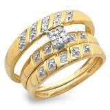 0.08 Carat (ctw) 18K Yellow Gold Round White Diamond Men & Women's Engagement Ring Bridal Trio Set