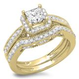 1.50 Carat (ctw) 14K Yellow Gold Princess & Round Diamond Ladies Halo Style Bridal Engagement Ring With Matching Band Set 1 1/2 CT