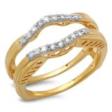 0.30 Carat (ctw) 14K Yellow Gold Round Diamond Ladies Anniversary Wedding Band Enhancer Double Guard Ring 1/3 CT