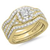 1.25 Carat (ctw) 14K Yellow Gold Princess & Round Cut Diamond Ladies Swirl Split Shank Bridal Halo Engagement Ring With Matching Bands 3 pcs Set 1 1/4 CT